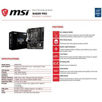 MSI B460M Motherboard (Bomber, Pro, Mortar, Mortar WiFi)